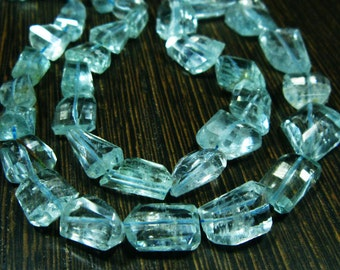 "AA-Aquamarine Step Cut Faceted Nuggets- 7.50"" Strand -Stones measure- 7-19mm"