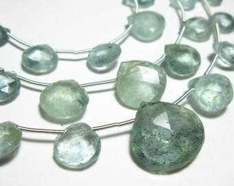 """AAA Moss Aquamarine Faceted Heart Briolette-8"""" Strand -Stones measure- 6-11mm"""