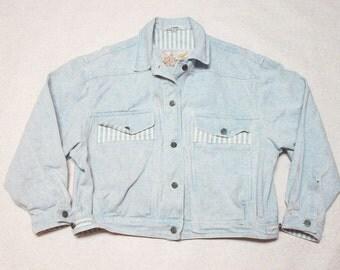 90s striped denim jacket medium wash  jean jacket - size large