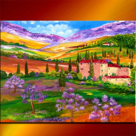 Super Large Single Picture Landscape Vineyard Canvas: Items Similar To Tuscany Toscana Landscape Spring Blooming