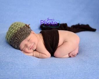Newborn Photo Prop, Baby Boy Hat, Newborn Boy Hat, Brim Hat, Newsboy Hat, Green Brown Hat, Toddler Boy Brim Hat, Prop,Boy Brim Photo Prop