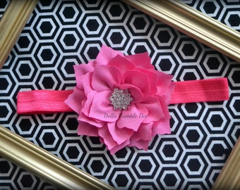 SALE - HOT PINK Chiffon Flower with Rhinestone on Elastic Headband, Clothing Accessory for Baby and Toddler Girls, Photo Prop