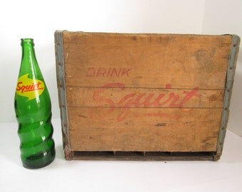 Vintage Squirt Crate and Bottle Soda Crate