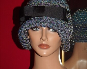 Crochet Flapper Hat Beaded Accent Antiqued style Personalized Headdress
