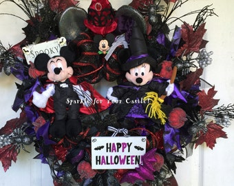 Mickey Minnie Halloween Wreath, Tokyo Disney Halloween Plush, Halloween Wreath