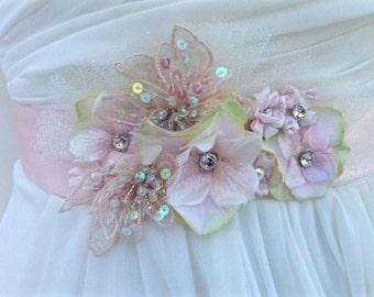 Bridal Sash-Wedding Sash In Blush Pink With Swarovski Crystals, Wedding Dress Sash, Flower Sash, Bridal Belt,