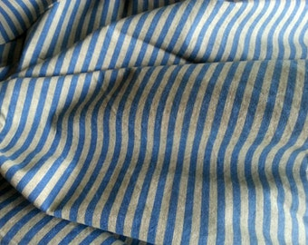 Blue Striped Cotton - Candy Stripe Fabric - Cotton Fabric  - Vintage Style Fabric