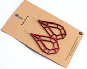 Drop crystal wooden earrings red colour