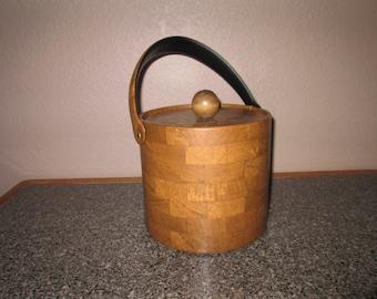 Excellent Retro 1970's Faux Wood Ice Bucket