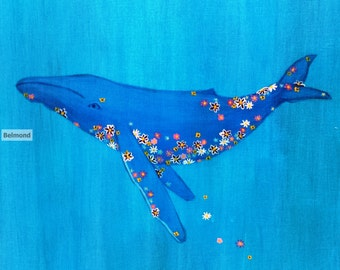 Flower Whale Painting-Print