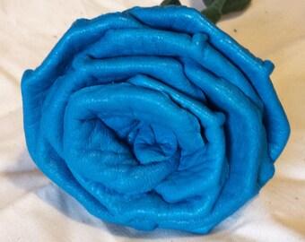 Long Stem Turquoise Deerskin Leather Rose