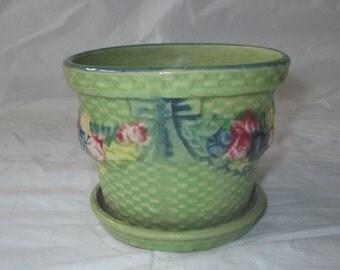 Vintage Made in Japan Green Planter & Saucer, Basket Design, Ribbons Flowers (c. 1930s)