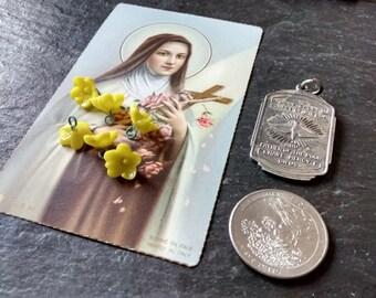 DIY Shrine of the Little Flower Saint medal holy card jewelry kit St Therese Liseux birthday pendant religious Back to School alter gift set