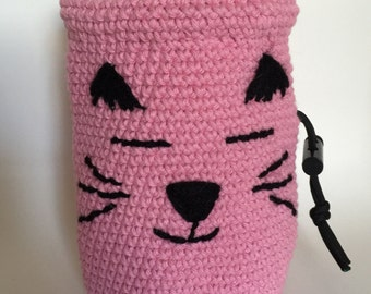 Light Pink Crocheted Cat Rock Climbing Chalk Bag by Dana Crochets