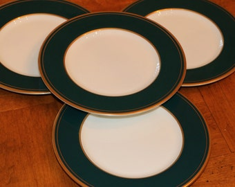 """Mikasa China Cathy Hardwick Designed """"Emerald"""" Pattern Set of Four Bread and Butter Plates, Dessert Plates"""
