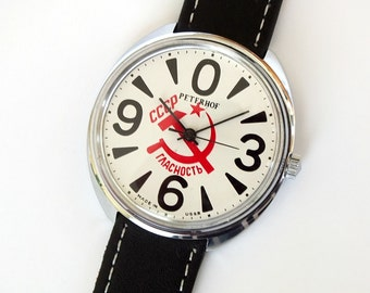 Vintage mechanical men's watch RAKETA BIG ZERO Petrodvorets Classic watch propaganda themed dial iconic Soviet mens wrist watch