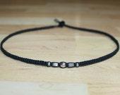 Mens Choker Necklace for Him - Black Hemp Choker Necklace Silver Metal Beads - Mens Hemp Jewelry for Him - Mens Hemp Necklace - Gift for Men