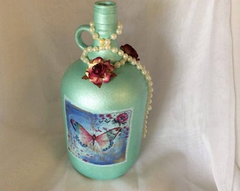 Decorated Cider  Bottles - Butterfly Fantasy