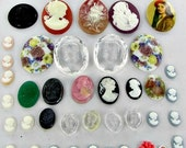 This item is ON SALE Cameo Cabochons 40 Jewelry Making Vintage Supplies large oval glass resin plastic flat back intaglio