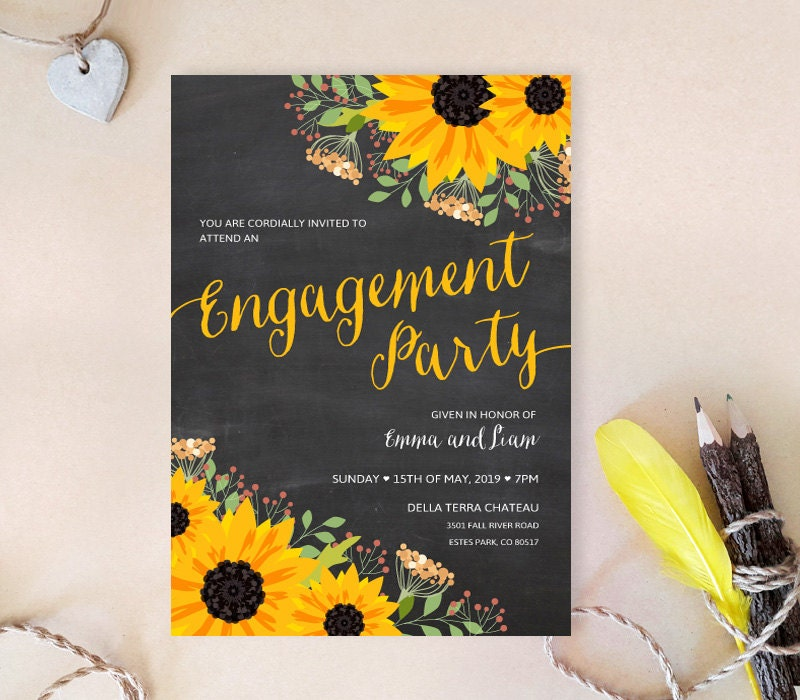 Sunflower engagement party invitations Chalkboard engagement – Cheap Engagement Party Invites