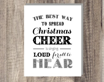 Instant Download - ELF Quote - The Best Way To Spread Christmas Cheer - Christmas Sign - Red Art- Christmas Printable - Holiday Wall Art
