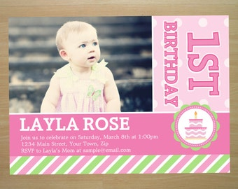 Pink Girl 1st Birthday Invitation - Digital File (Printing Available)