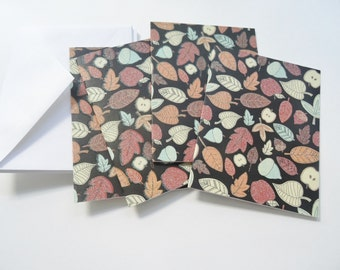 Contemporary Fall Note Cards, Glittery Fall Cards, Leaf Design Cards, Blank Cards, Thank You Cards, All Occasion Cards, Set of 4