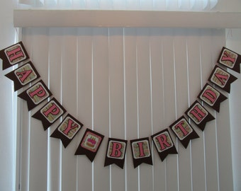 BIRTHDAY CAKE Banner Brown & Pink