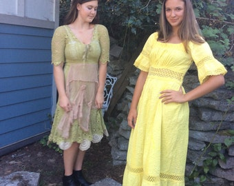 Vintage Mexican Wedding Dress Gorgeous Golden Yellow sale was78 now 68.00!