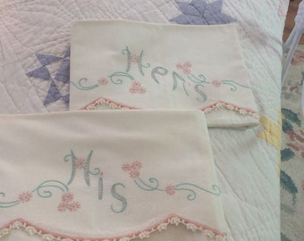 Gorgeous Vintage Pillow Cases Hers and His Embroidered and crochet Edge Romantic Cottage Set