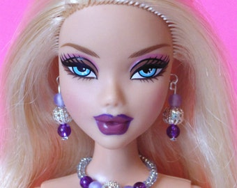 Barbie Doll JEWELRY - Purple silver goth Jewelry Set for My Scene dolls - by dolls4emma