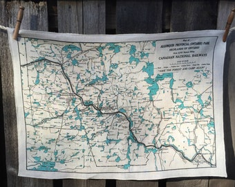 Algonquin map tea towel - FREE SHIPPING