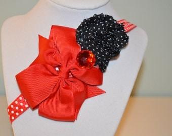 Red and Black Elastic Headband