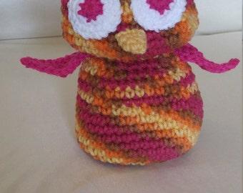 Crocheted Owl named Luna, Huggable and Kid friendly
