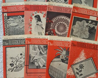 "12 Issues Vintage Craft Magazine ""The Workbasket"" 1963 Mid Century Modern MCM"