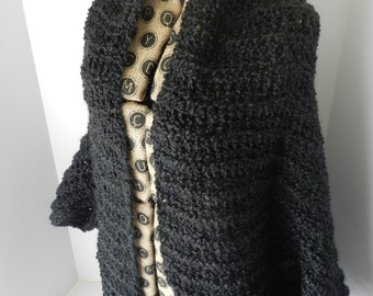 Crochet Shrug - black, dark grey, charcoal