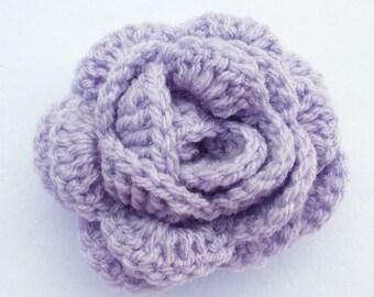 Lavender crochet rose flower hair bobble pony tail band hair tie hair accessories