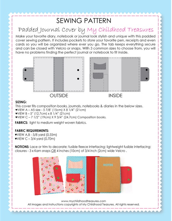 Book Cover Sewing Pattern : Journal cover sewing pattern diary