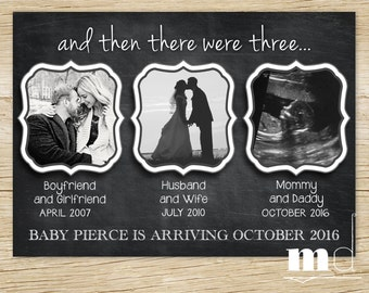 Chalkboard Pregnancy Announcement, Baby Announcement, Facebook Pregnancy Announcement, And Then There Were 3 / Three - PRINTABLE & Web File