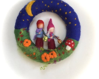 Wreath.Latern walk . Needle Felted. Waldorf.Wool.
