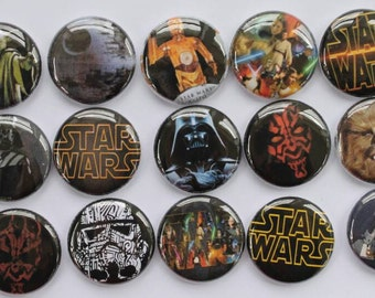 Star Wars 1 inch flat back, pin backs, hollow back buttons, bottle caps, scrapbooking, crafts, bow centers- set of 15