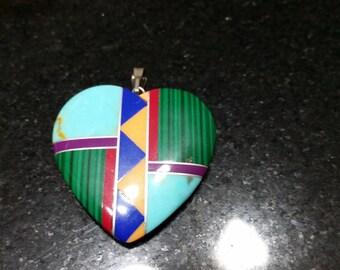 FREE U.S. SHIPPING--Southwest Stone Heart Pendant