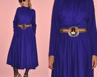 Vintage 80s Blue Indigo Cobalt Long Sleeve Bat Wing Sweater Maxi Dress