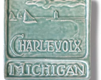 "Charlevoix Michigan 6x6"" Art Tile free shipping!"