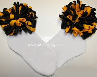 Cheer Socks, Girls Korker Bow Socks, Black Yellow Gold Socks, Toddler Curly Ribbon Socks, School Spirit Socks, Football Cheerleader Socks