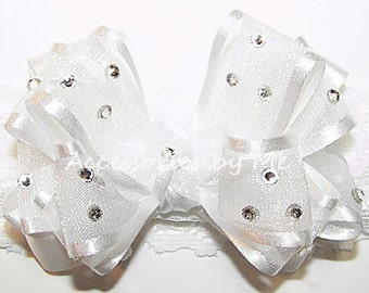 "Baptism Baby Headband, Embellished White Bow Wide 1"" Lace Band, Organza Satin Trim Ribbon, Newborn Infant Blessing Christening, 1st Occasion"