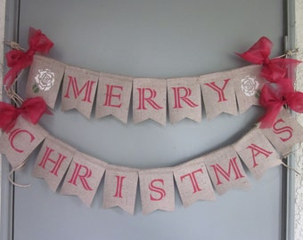 Merry Christmas Banner - Rustic Burlap Merry Christmas Garland - Christmas Rose Sign Decor - Elegant Holiday Christmas Bunting Decor