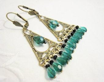 Victorian Chandelier Dangle Earrings Antique Brass Teardrop Teal Green Glass Faceted Beads