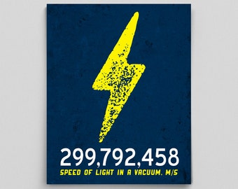 Science Physics Speed of Light Print Poster Gifts for Teachers Nerdy Gift Ideas Science Typographic Print Classroom Posters Classroom Decor