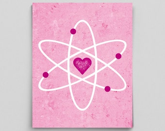 Science Love Women in Science Print Gifts for Her Teacher Gifts for Teachers Pink Science Art Geek Chic Poster Nerdy Couple Gifts Scientist
